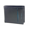 Mały portfel męski Pierre Cardin ze skóry, czarny z niebieską wstawką