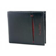 Mały portfel męski Pierre Cardin ze skóry naturalnej czarny z bordową wstawką