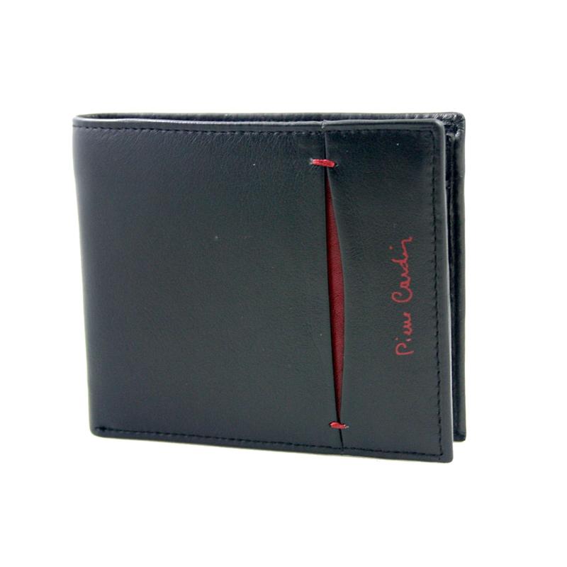 acec55a4d43f9 Mały portfel męski Pierre Cardin ze skóry naturalnej czarny z bordową  wstawką