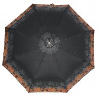 Ekskluzywna automatyczna parasolka damska Pierre Cardin, brązowy ornament