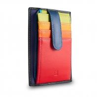 Skórzany portfel saszetka marki DuDu®, czarny + kolorowy środek
