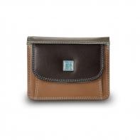 Skórzany mały portfel damski marki DuDu®, ciemny brąz, błękit + inne