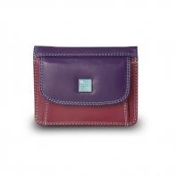 Skórzany mały portfel damski marki DuDu®, fioletowy, pomarańczowy + inne