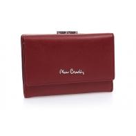 Skórzana portmonetka Pierre Cardin w kolorze ciemno czerwonym