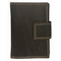 Praktyczny portfel męski Always Wild ze skóry nubukowej z zapięciem w kolorze brązowym