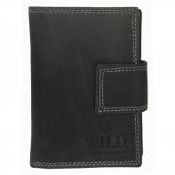 Praktyczny portfel damski Always Wild ze skóry nubukowej z zapięciem w kolorze czarnym