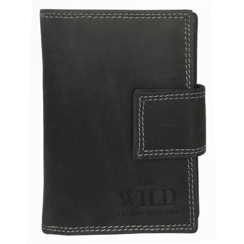e31ca550affa4 Praktyczny portfel damski Always Wild ze skóry nubukowej z zapięciem w  kolorze czarnym