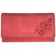 Długi, czerwony portfel damski Always Wild N20-CH ze skóry nubukowej
