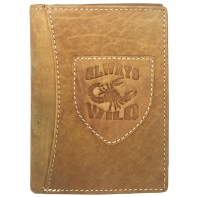 Super wyposażony portfel męski Always Wild ze skóry nubukowej - beżowy