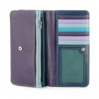 Skórzany portfel damski marki DuDu®, fioletowy + niebieski