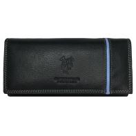 Elegancki portfel damski Harvey Miller czarny z paskiem, skórzany