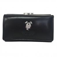 Bogato wyposażony portfel damski Harvey Miller czarny skórzany