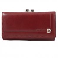 Skórzana portmonetka Pierre Cardin w kolorze czerwonym