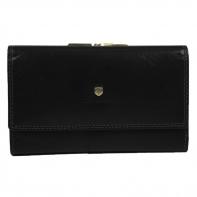 Pojemny skórzany portfel damski Peterson, czarny