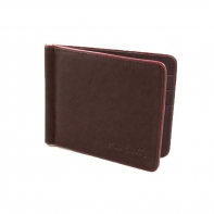 Banknotówka, mały portfel Pierre Cardin, brązowy z bordową obwódką, skóra