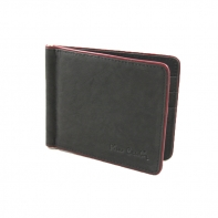 Banknotówka, mały portfel Pierre Cardin, czarny z bordową obwódką, skóra