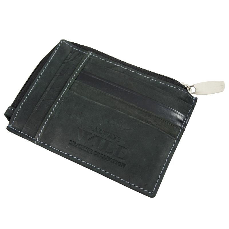 833e38f28c268 Nietypowy portfel męski Always Wild ze skóry nubukowej - czarny