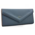 Długi klasyczny portfel typu kopertówka z eko skóry, niebieski