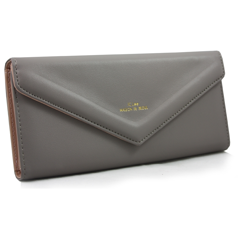 f26ec3f92159c Długi klasyczny portfel typu kopertówka z eko skóry, szary