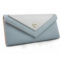Elegancki portfel typu kopertówka z eko skóry, niebieski
