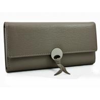 Elegancki długi portfel z eko skóry, beżowy
