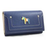 Klasyczny portfel damski Peterson z konikiem, niebieski