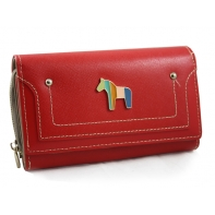 Klasyczny portfel damski Peterson z konikiem, czerwony