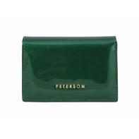 Elegancki, skórzany portfel damski Peterson, lakierowany zielony