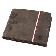 """Poziomy portfel męski marki Peterson """"Patriot"""", brązowy, z orłem i flagą"""