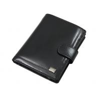 Męski portfel Rovicky ze skóry naturalnej, RFID, czarny