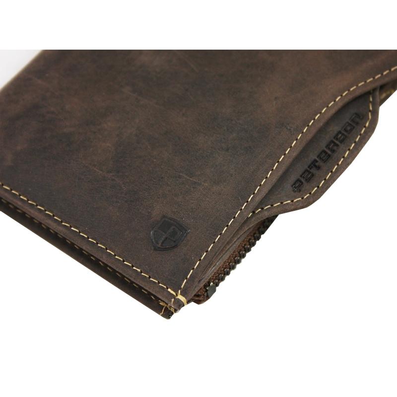 abc866e933df5 Dwuczęściowy portfel męski marki Peterson, brązowy, skóra