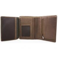Skórzany portfel z kieszonką na suwak polskiej marki Revio, brązowy