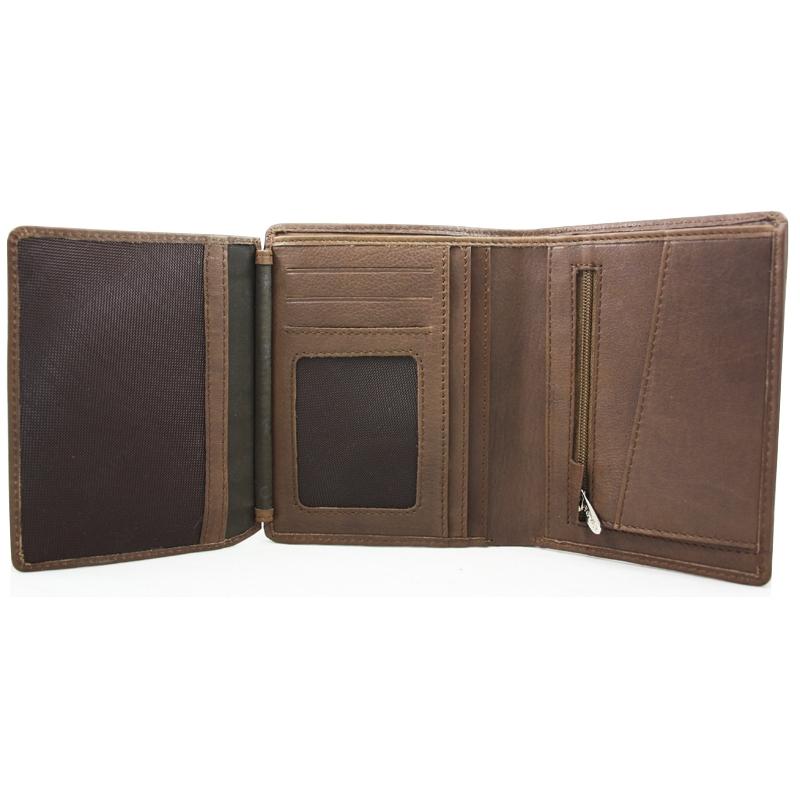 5fa225152cae9 Skórzany portfel z kieszonką na suwak polskiej marki Revio, brązowy