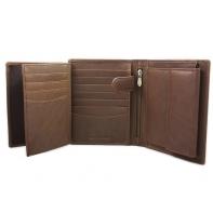 Skórzany rozbudowany portfel polskiej marki Revio, brązowy