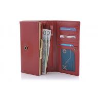Długi, skórzany portfel damski Orsatti D05C czerwony