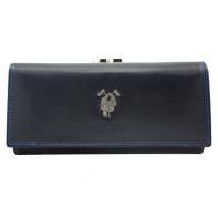 Skórzany elegancki portfel damski Harvey Miller, granatowy