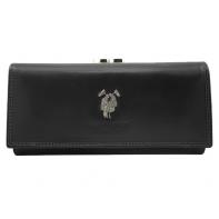 Skórzany elegancki portfel damski Harvey Miller, czarny