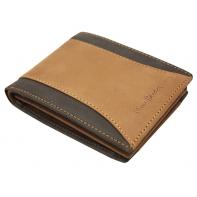 Męski skórzany poziomy portfel Pierre Cardin, brązowy