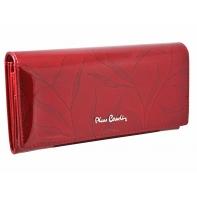 Lakierowany skórzany portfel damski Pierre Cardin, czerwony