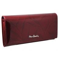 Lakierowany skórzany portfel damski Pierre Cardin, bordowy