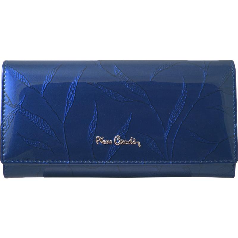 be78f833b9a30 Lakierowany skórzany portfel damski Pierre Cardin, niebieski