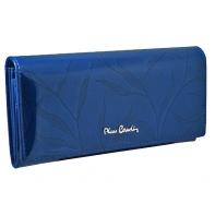 Lakierowany skórzany portfel damski Pierre Cardin, niebieski