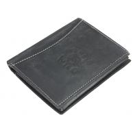 Super wyposażony portfel męski Always Wild ze skóry nubukowej, czarny