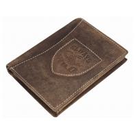 Super wyposażony portfel męski Always Wild ze skóry nubukowej, brązowy