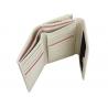 Skórzany niewielki portfel damski Valentini, ecru z różowym wykończeniem