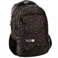 Lekki plecak szkolny Paso, czarny w groszki