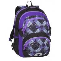 Lekki plecak szkolny Bagmaster z fioletowymi suwakami
