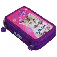 Piórnik potrójny z wyposażeniem - Kotek