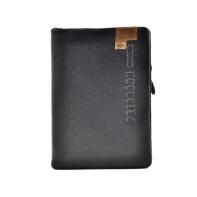 Czarny, miękki, skórzany portfel męski z dopinaną wkładką, Peterson