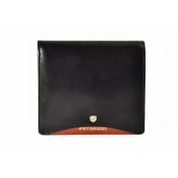 Pionowy skórzany portfel męski marki Peterson, RFID, czarny z czerwoną wstawką